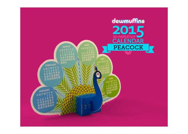 2015-3d-peacock-calendar -kit168.com