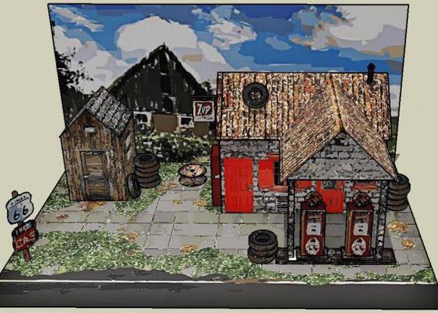 the-vintage-service-station-paper-model-oil-painting-version-1 -kit168.com
