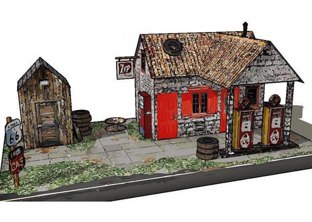 the-vintage-service-station-paper-model-oil-painting-version-2 -kit168.com