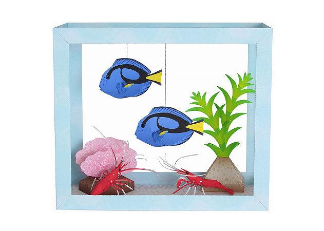paper-aquarium-blue-tang-fire-shrimp -kit168.com