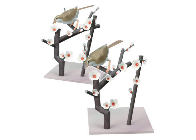 bush-warbler-in-a-branch-of-japanese-plums-diorama-2-kit168-com