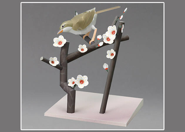 bush-warbler-in-a-branch-of-japanese-plums-diorama-3-kit168-com